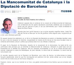 La Mancomunitat de Catalunya i la Diputació de Barcelona — Elfar