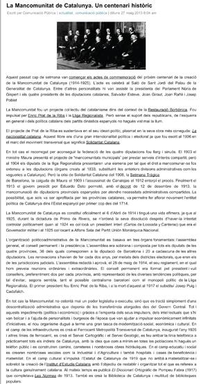La Mancomunitat de Catalunya. Un centenari històric