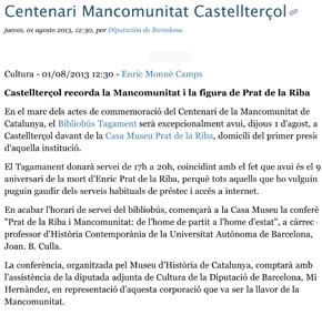 Castellterçol recorda la Mancomunitat i la figura de Prat de la Riba