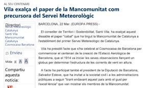 Vila exalça el paper de la Mancomunitat com precursora del Servei Meteorològic