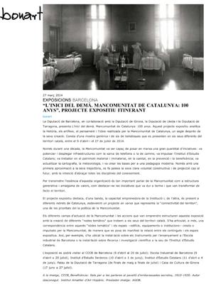 """""""L''inici del demà. Mancomunitat de Catalunya: 100 anys"""", projecte expositiu itinerant"""