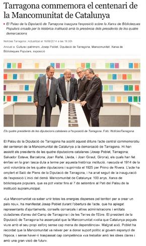 Tarragona commemora el centenari de la Mancomunitat de Catalunya