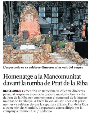 Homenatge a la Mancomunitat davant la tomba de Prat de la Riba
