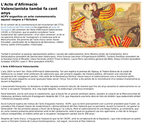 L'Acte d'Afirmació Valencianista també fa cent anys