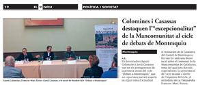"""Colomines i Casassas destaquen l'""""excepcionalitat"""" de la Mancomunitat al cicle de debats de Montesquiu"""